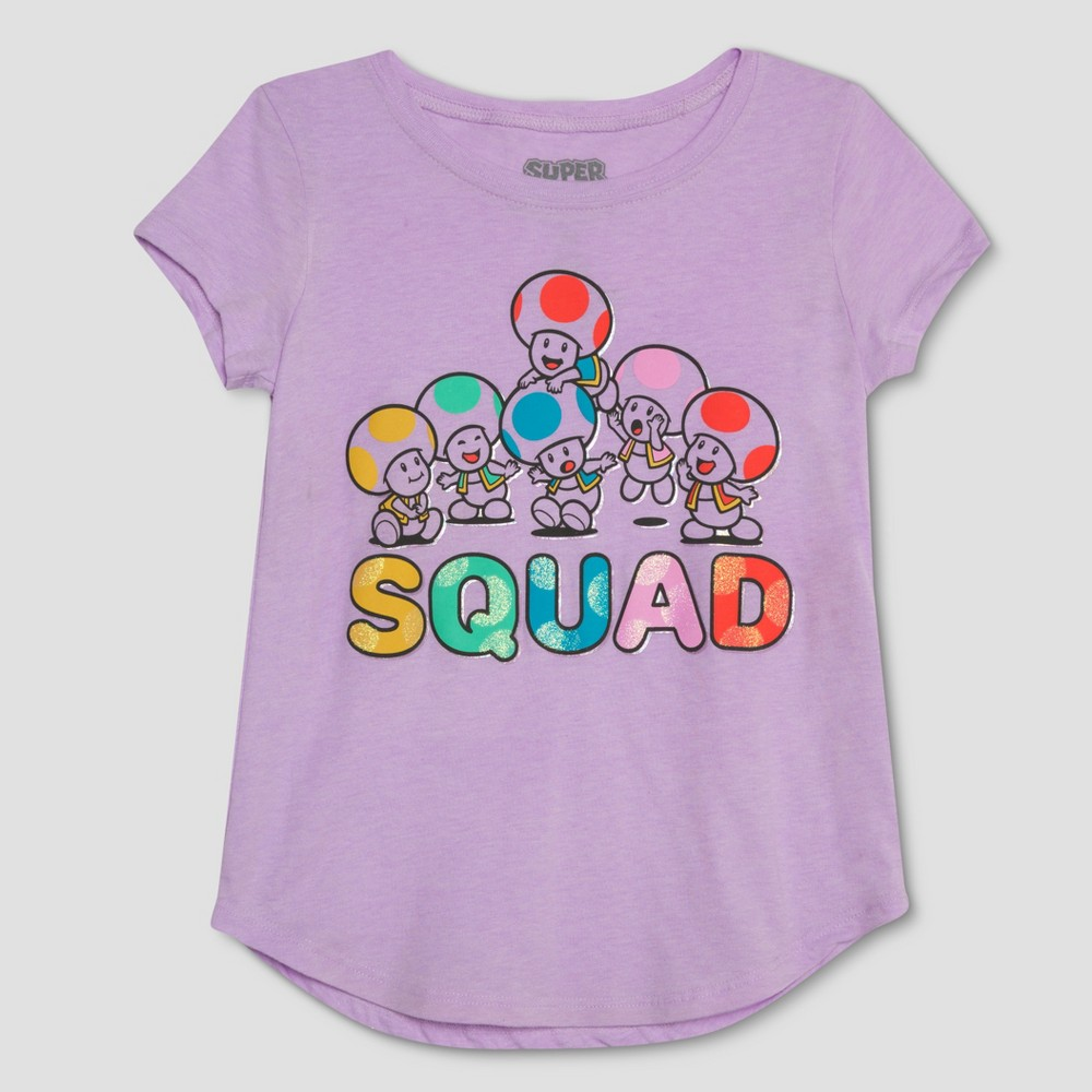 Girls' Nintendo Super Mario Toad Short Sleeve T-Shirt - Purple XL
