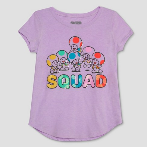 Girls' Nintendo Super Mario Toad Short Sleeve T-Shirt - Purple - image 1 of 2