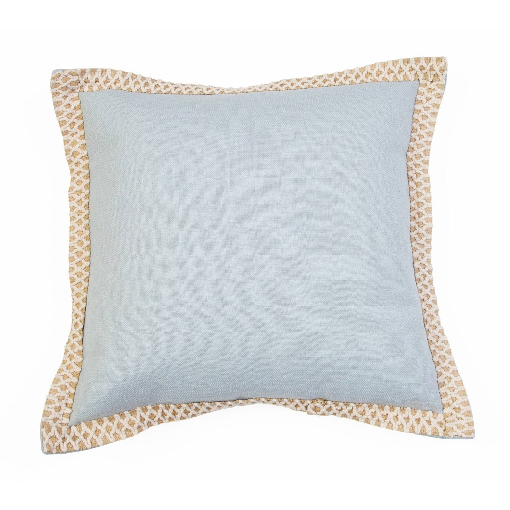 """Image of """"19""""""""x19"""""""" Andrea Embroidered Flange Pillow Light Blue - Décor Therapy"""""""