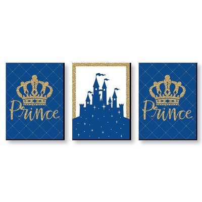 Big Dot of Happiness Royal Prince Charming - Baby Boy Nursery Wall Art and Kids Room Decorations - Gift Ideas - 7.5 x 10 inches - Set of 3 Prints