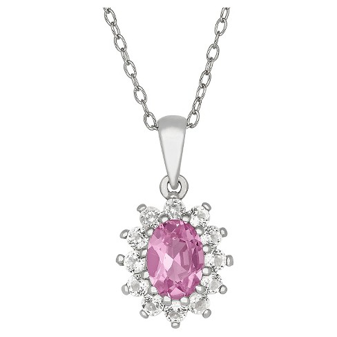 Oval-Cut Pink Sapphire Flower Pendant in Sterling Silver - image 1 of 1