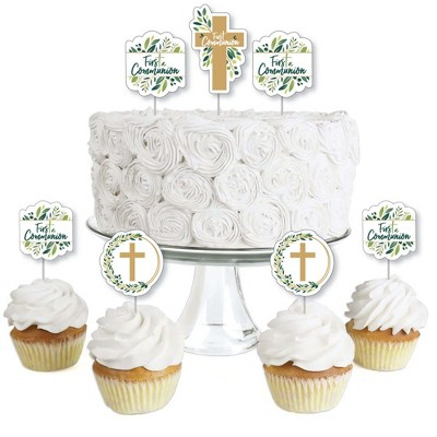 Big Dot of Happiness First Communion Elegant Cross - Dessert Cupcake Toppers - Religious Party Clear Treat Picks - Set of 24
