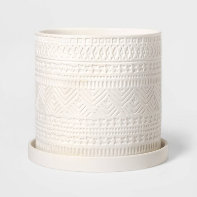 "7"" Novelty Chevron Textured Planter White - Threshold™"