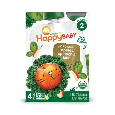 HappyBaby 4pk Organic Apples Spinach & Kale Baby Food Pouch - 16oz