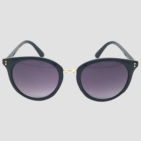 Women's Round Sunglasses - A New Day™ Black - image 1 of 2