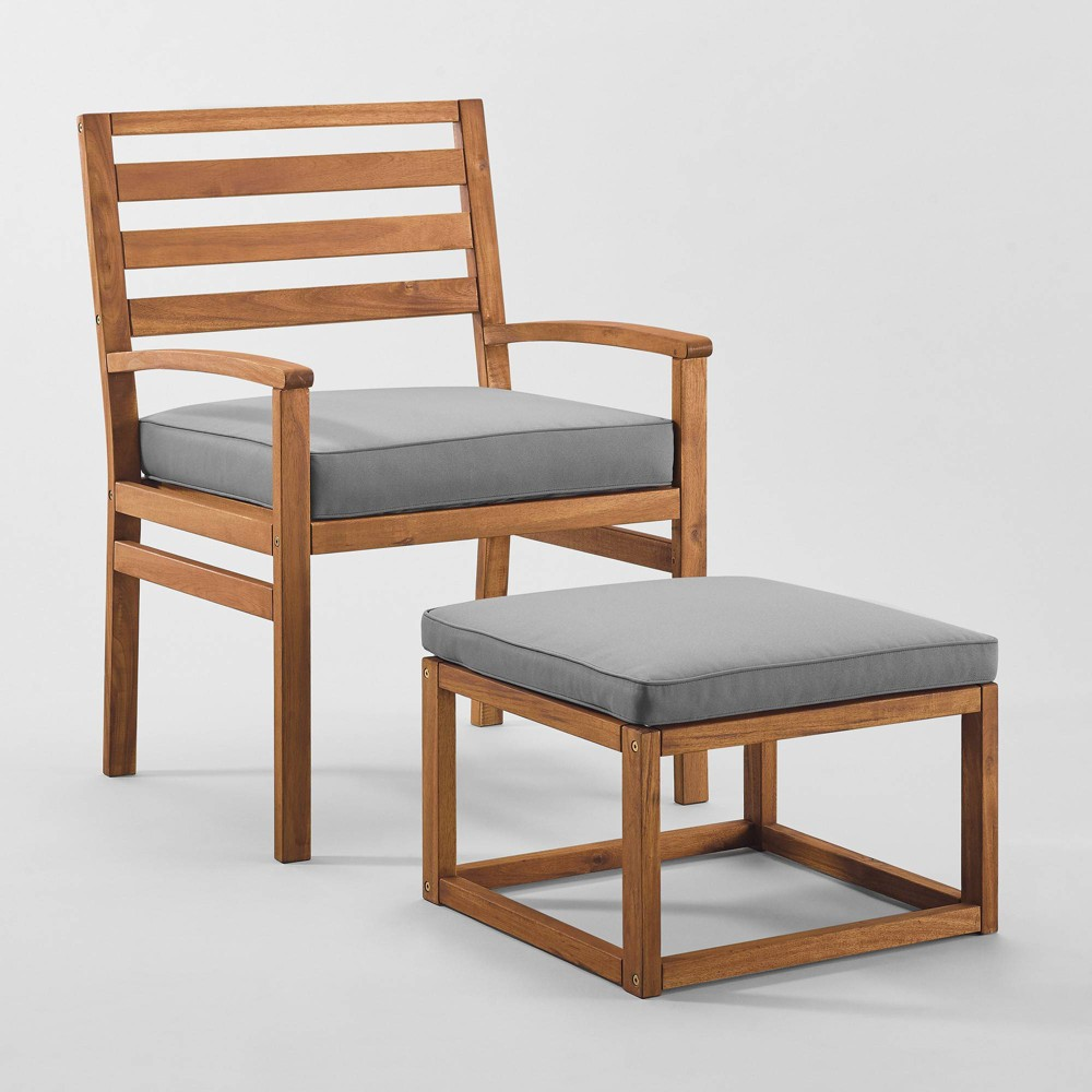 Image of 2pc Acacia Wood Outdoor Patio Chair & Pull Out Ottoman - Brown/Gray - Saracina Home