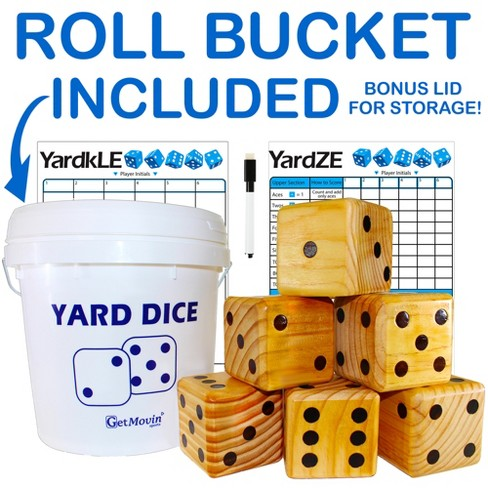GetMovin Sports Yardzee and Farkle Giant Outdoor Yard Wood Dice Set with Roll Bucket and Scorecards for Kids and Adults - image 1 of 4