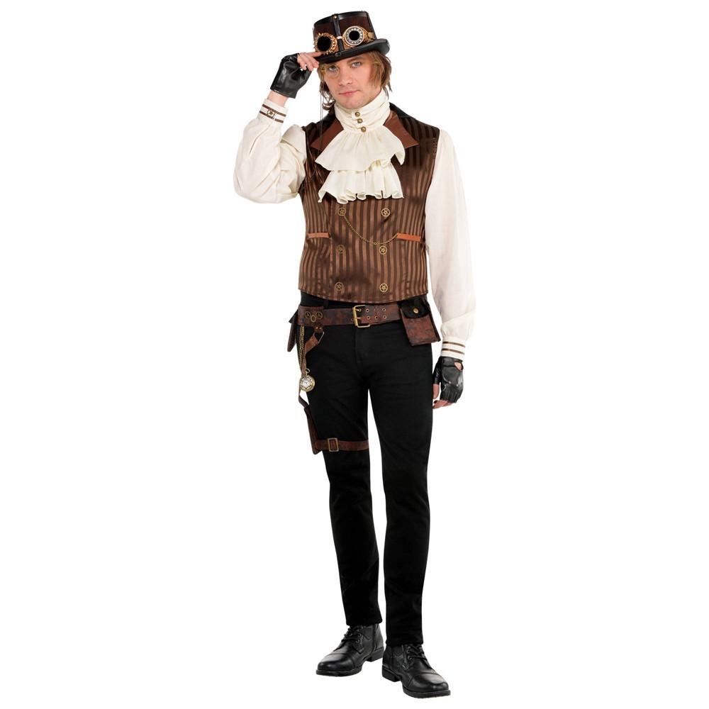 50 Men's Vintage Halloween Costume Ideas Halloween Adult Steampunk Vest with Attached Shirt Halloween Costume Top LXL $21.49 AT vintagedancer.com