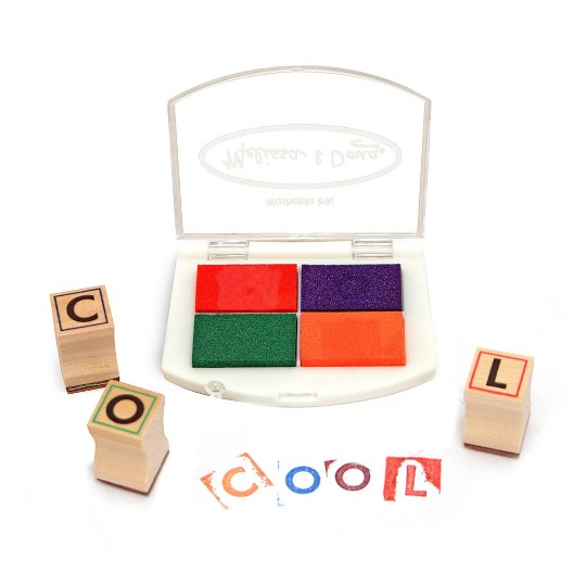 Melissa & Doug Wooden Alphabet Stamp Set - 56 Stamps With Lower-Case and Capital Letters image number null