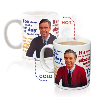 Surreal Entertainment Mister Rogers Sweater Changing Mug | Sweater Changes With Heat | Holds 16 Ounces