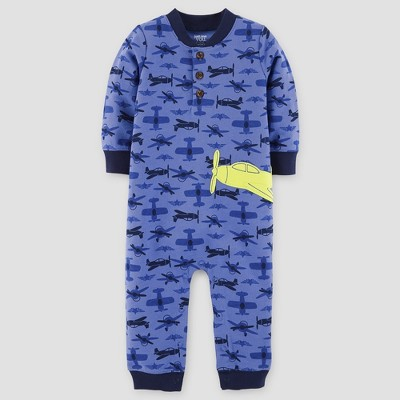 Baby Boys' Airplanes Cotton Henley Jumpsuit - Just One You™ Made by Carter's® Blue Newborn