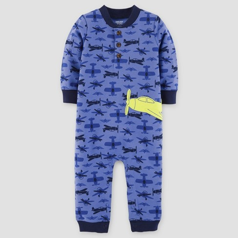 Baby Boys' Airplanes Cotton Henley Jumpsuit - Just One You® made by carter's Blue - image 1 of 1