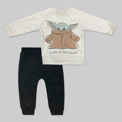 Baby Boys' 2pc Star Wars Baby Yoda Long Sleeve Fleece Top and Bottom Set - Gray 6-9M