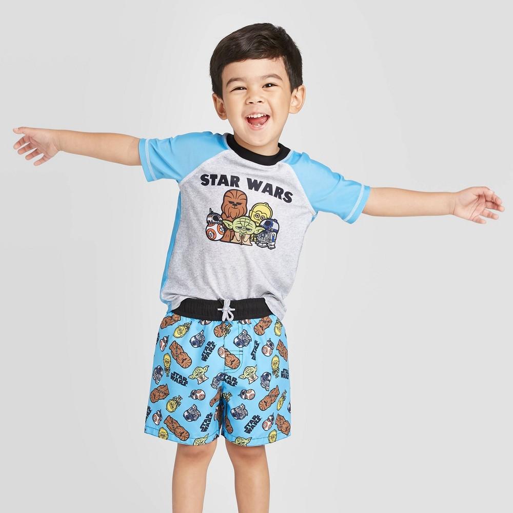 Toddler Boys 39 Star Wars Rash Guard Swim Shirt Swim Shirt Blue Gray