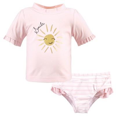 Hudson Baby Infant Girl Swim Rashguard Set, Smile Sunshine