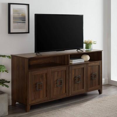 "4 Door Boho Media Center TV Stand for TVs up to 65"" Dark Walnut - Saracina Home"