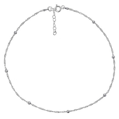 """Women's Diamond Cut Singapore Extender Anklet with Ball Stations in Sterling Silver - Silver (9"""" + 1"""")"""