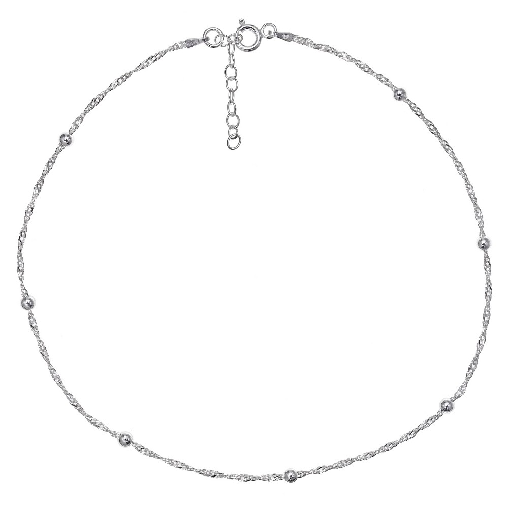 """Image of """"Women's Diamond Cut Singapore Extender Anklet with Ball Stations in Sterling Silver - Silver (9"""""""" + 1""""""""), Size: Small"""""""