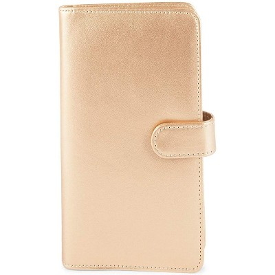 Juvale 2-Pack Gold PU Leather Business Card Holder, Holds 120 Cards (4.5 x 7.9 inches)