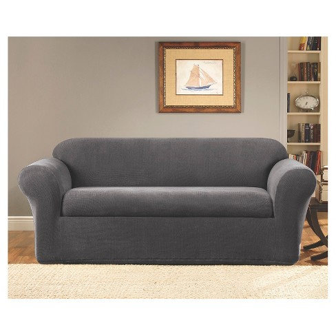 2 Piece Stretch Twill Sofa Slipcover Gray - Sure Fit : Target