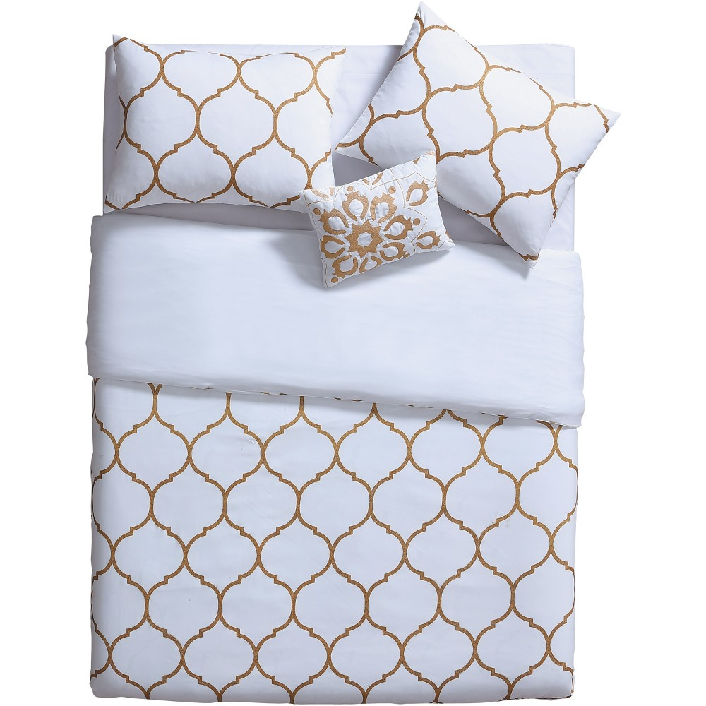 4pc Full/Queen Ogee Comforter Set Gold/White - Vcny Home