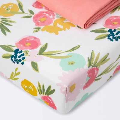 Crib Fitted Sheets Floral and Coral Solid - Cloud Island™ Coral 2pk