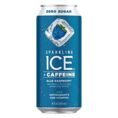 Sparkling Ice +Caffeine Blue Raspberry - 16 fl oz Can