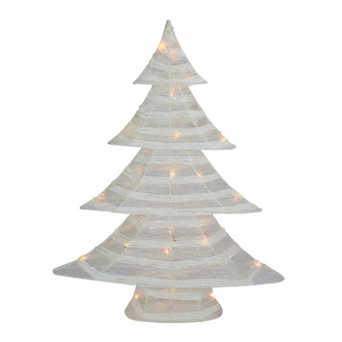 Lighted Christmas Tree.Northlight 24 5 Battery Operated White And Silver Glittered Led Lighted Christmas Tree Table Top Decoration