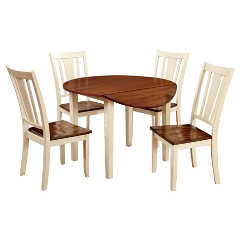 5pc Earlton Curved Edge Round Dining Table Set Cherryvintage White Sun Pine
