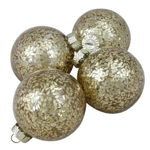 """Northlight 4ct Clear Glass with Gold Seeds Christmas Ornament Ball Set 3.25"""" (80mm) - image 1 of 2"""