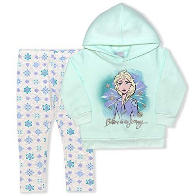 Disney Frozen Girl's 2-Pack Believe In The Journey Elsa Pullover Hoodie and Snowflake Legging Pant for Kids