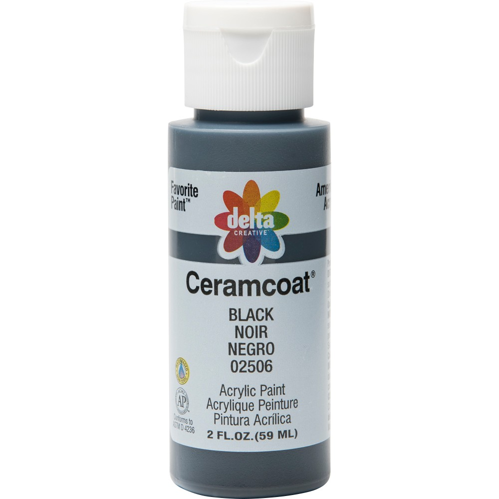 Image of 2 fl oz Acrylic Craft Paint Black - Delta Ceramcoat