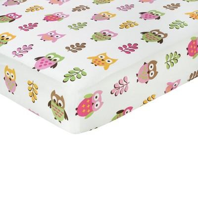 Sweet Jojo Designs Happy Owl Fitted Crib Sheet - Owl Print