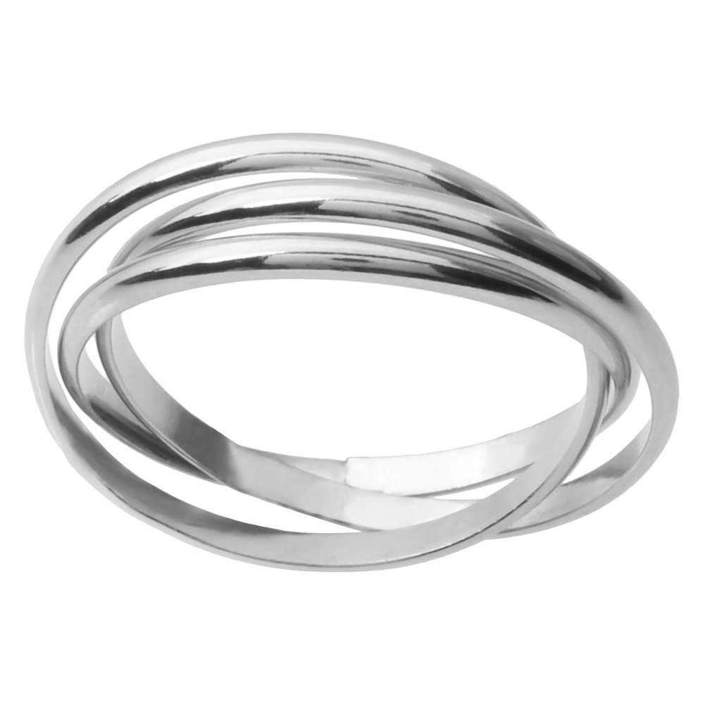 Women's Journee Collection Three-band Rolo Ring in Sterling Silver - Silver, 8