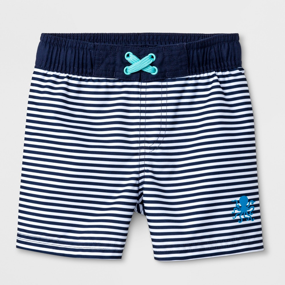 Toddler Boys' Striped Swim Trunks - Cat & Jack Navy 2T, Blue