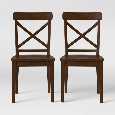 2pk Bensenville X Back Dining Chair Brown - Threshold™ - image 1 of 5