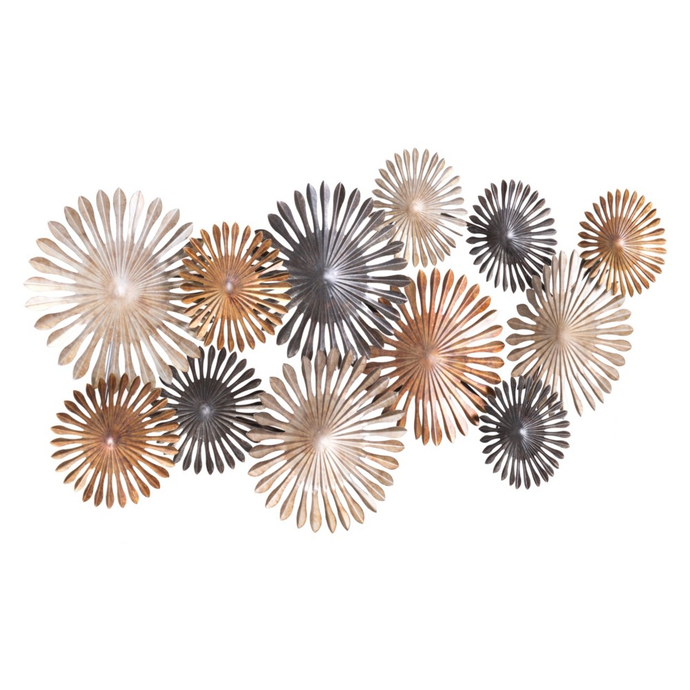 ZM Home 47 Abstract Floral Wall Sculpture, Multi-Colored