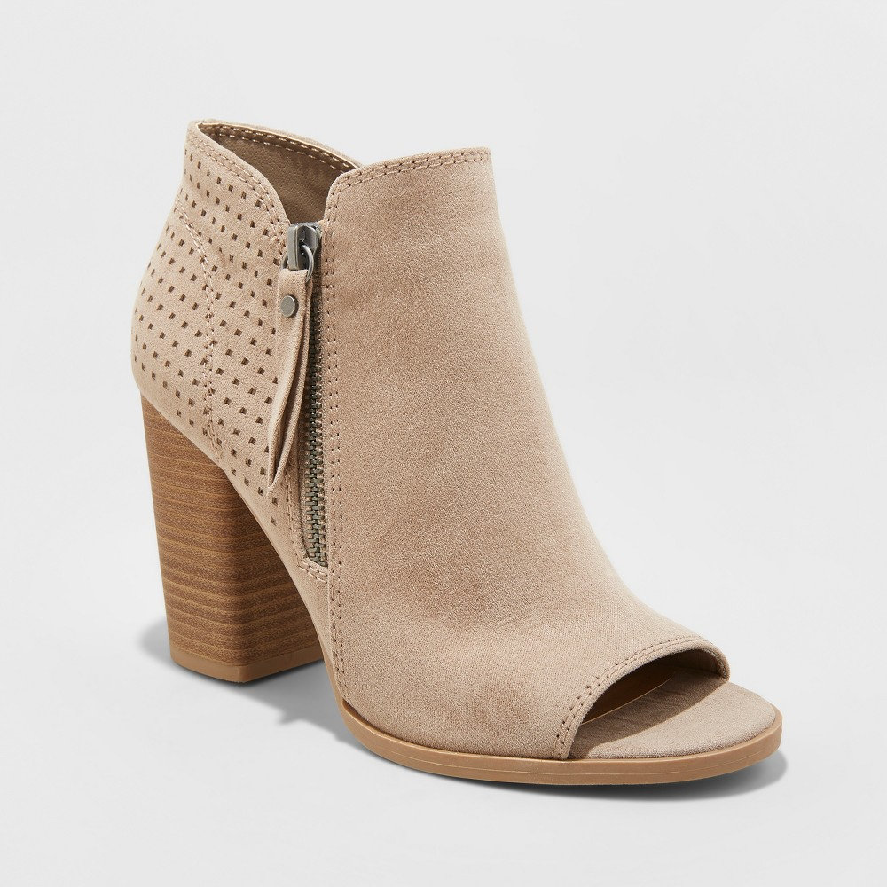 Women's Collie Wide Width Open Toe Laser Cut Heeled Bootie - Universal Thread Taupe (Brown) 12W, Size: 12 Wide