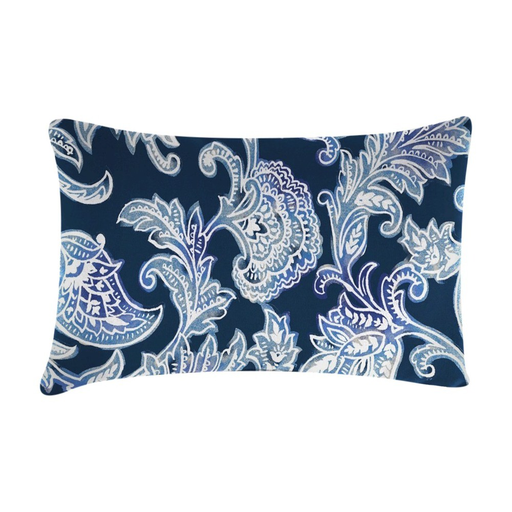 Outdoor Throw Pillow Set Jordan Manufacturing Washed Indigo Black