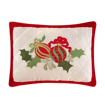 """C&F Home 12"""" x 16"""" Holiday Ornaments Quilted Pillow"""
