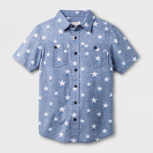 ad91de0e1 Boys' Star Print Short Sleeve Button-Down Shirt - Cat & Jack™ Blue ...
