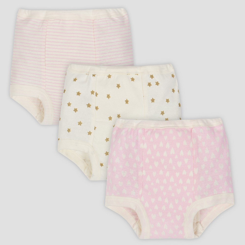 Gerber Baby Girls' 3pk Training Pants - Pink/Cream 3T