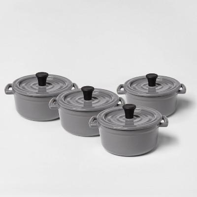 .25qt 4pc Round Casserole Bakeware Set Gray - Threshold™