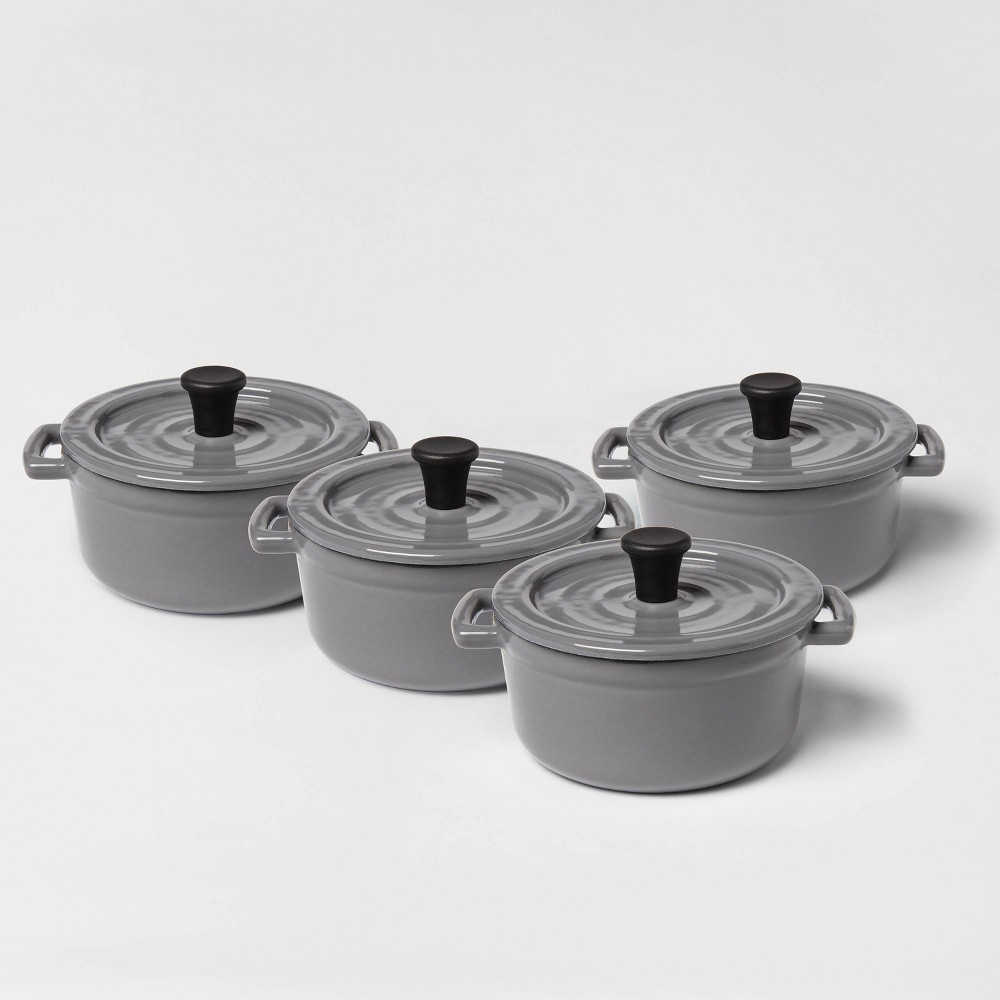 Image of .25qt 4pc Round Casserole Bakeware Set Gray - Threshold