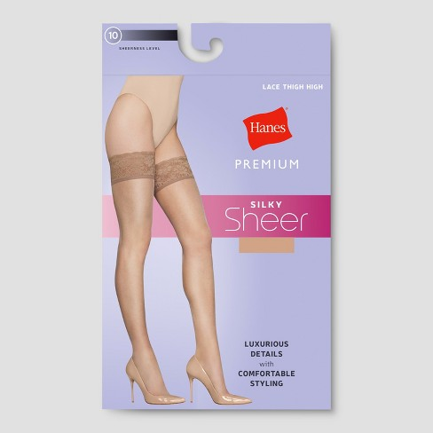 545536364 Hanes Premium Women s Lace Thigh High Stockings - Nude XL   Target