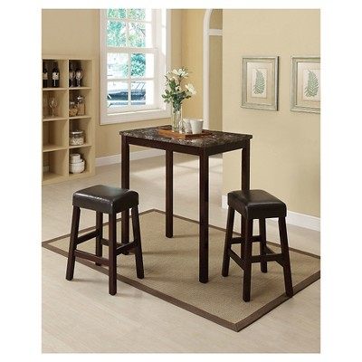 Idris 3 Piece Counter Height Dining Set   Faux Marble And Espresso   Acme :  Target