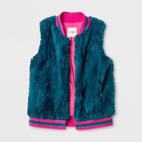 Girls' Faux Fur Vest - Cat & Jack™ Teal - image 1 of 1