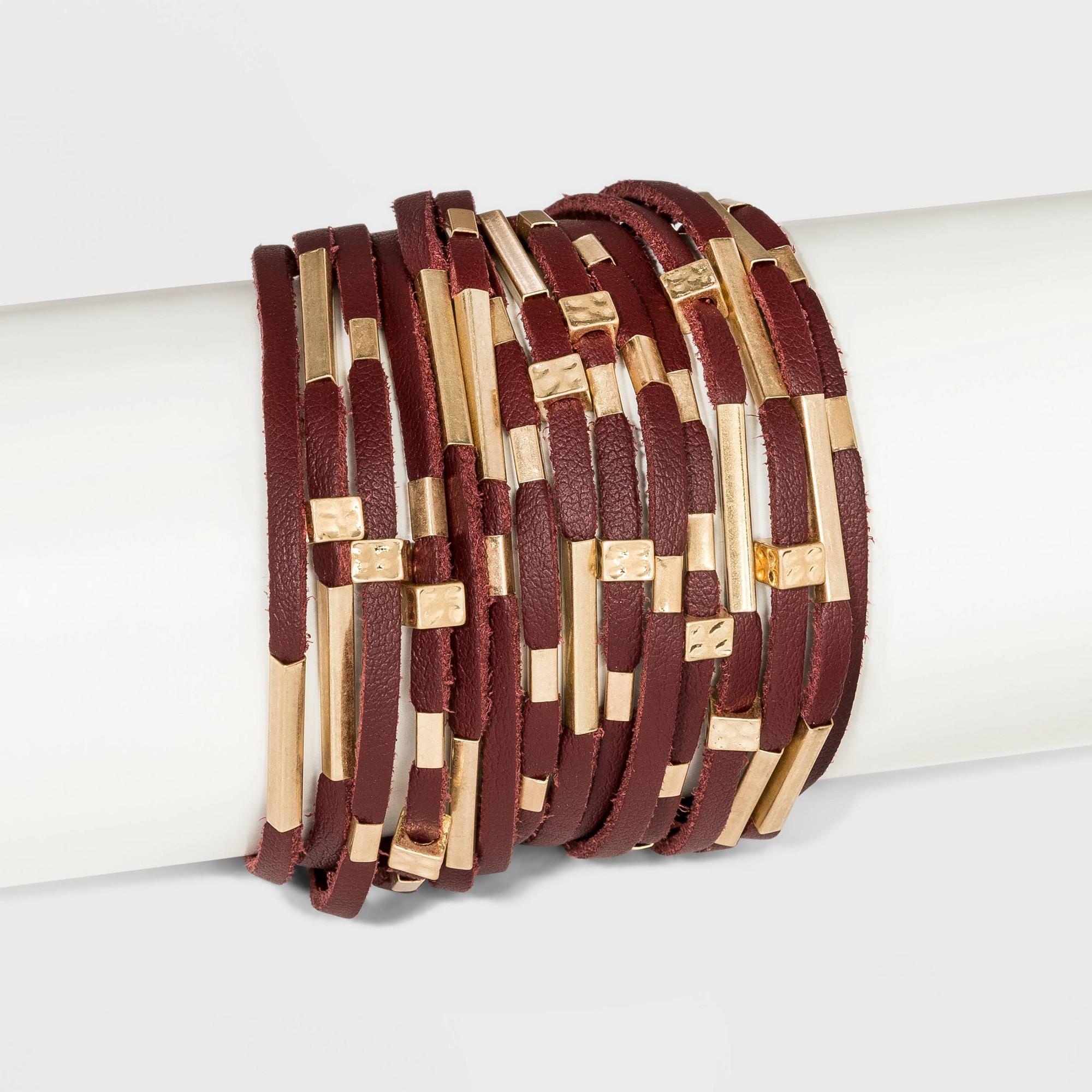 Simulated Leather and Tube Slider Magnetic Bracelet - Universal Thread Royal Burgundy, Women's