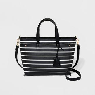 Striped Two Layer Satchel Handbag - A New Day™ Black/White
