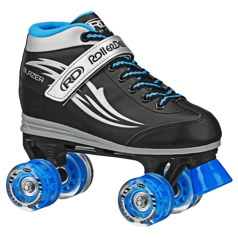 Roller Derby Kids' Blazer Quad Skates with Lighted Wheels - Black/Blue - (4), Boy's, Black Blue
